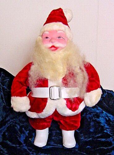 """11"""" Vintage Santa Claus With Papier Mache Face & Velvet Suit-Excellent"""