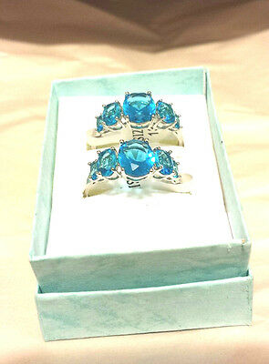 (( Blue Topaz )) 925 Sterling Silver Rings  (1) Size 9  (1) Teal Size 10 (Blue Topaz Ring Size 10)