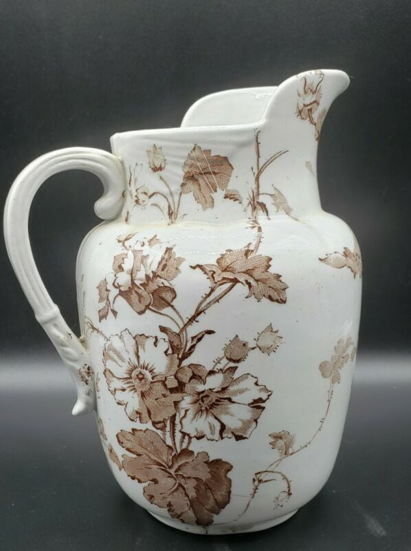 "Brown and White Antique Ironstone Transferware Pitcher 7"" Thorny Roses"