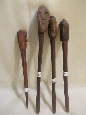 4 Wood Comb Hair Pin Various Decoration Hand carved West Timor Indonesia