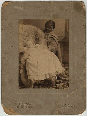 Very Old Photo on Board From Guatemala - Baby With Guatemalan Nanny