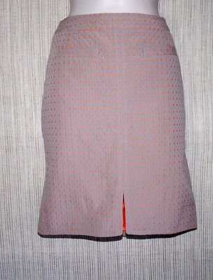 YOANA BARASCHI COTTON BLEND GRAY ORANGE PENCIL ABOVE KNEE LINED SKIRT SIZE:2
