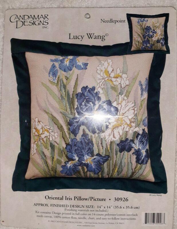 Candamar Designs Oriental Iris Pillow Picture Needlepoint Kit 30926 Lucy Wang