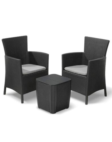 Garden Furniture - BRAND NEW GREY Rattan Garden Furniture Set Keter lowa 3 Piece Balcony Patio Set