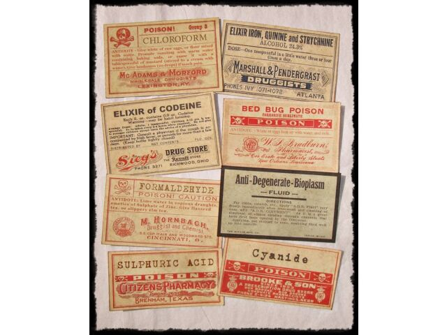 20 POISON VINTAGE LOOK VICTORIAN APOTHECARY LABELS Halloween/Steampunk/Primitive