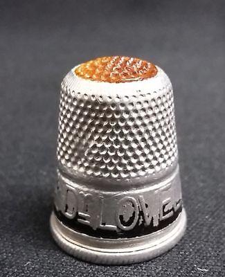 Orange Alluminium Use Dr Lovelaces Soap Advertising Sewing Thimble Vintage