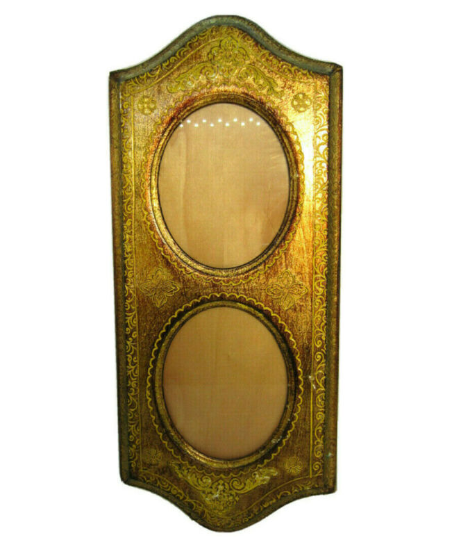 Antique Vintage Wood Italian Tole Italy Gold Gilt Double Picture Frame