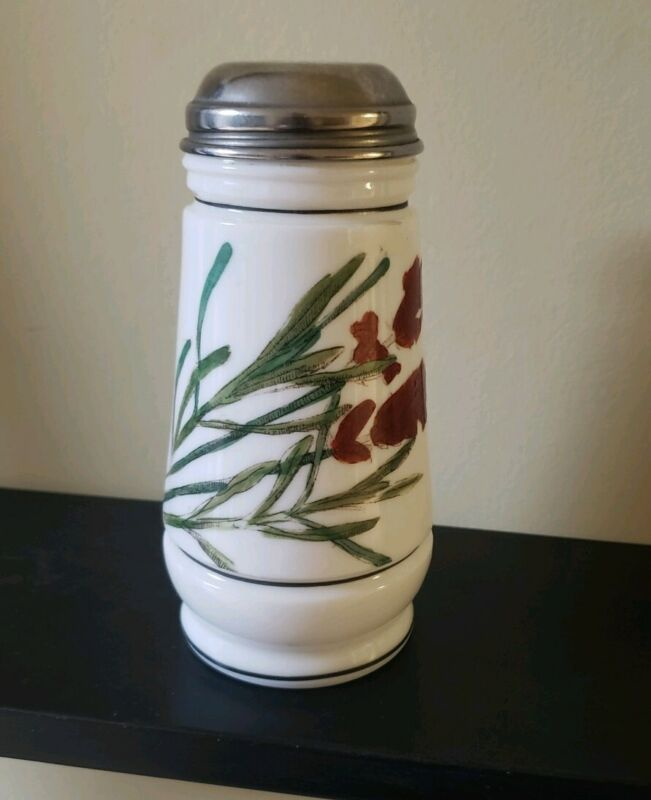 RARE VINTAGE VICTORIAN MILK GLASS MUFFINEER SHAKER FLORAL PAINTED