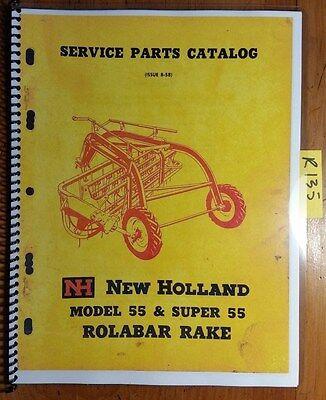 New Holland 55 Super 55 Rolabar Rake Service Parts Catalog Manual 1102-9m 858