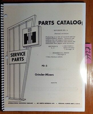 Ih International Harvester 85 105 850 1050 950 1150 Grinder-mixer Parts Manual