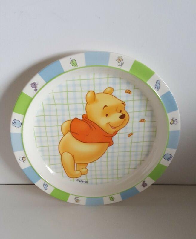 "VTG Disney WINNIE THE POOH Melamine Kids 9"" Plate Vintage Blue Green"