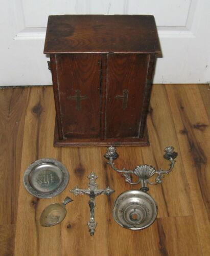 Antique 1800s 19th Century Sick Call Last Rite Wood Box Catholic Crucifix Jesus