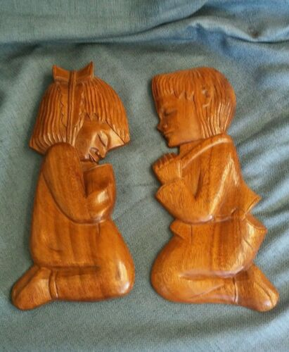 """Praying Boy & Girl Wood Wall Hanging Decor MISSION Philippines 12"""" Tall each"""