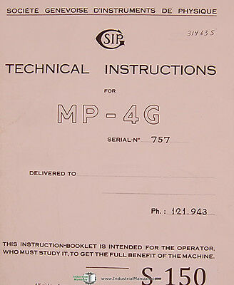 Sip Mp-4g Boring Machine Technical Operators Instructions 91 Page Manual