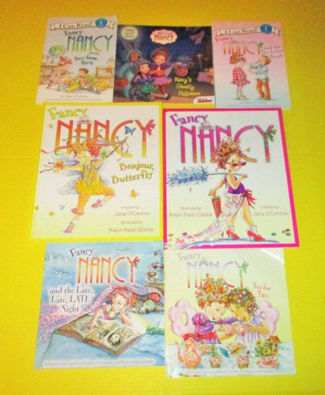 FANCY NANCY Lot of 7 -SC/HC Reading Books, Picture & Leveled Readers -Stickers