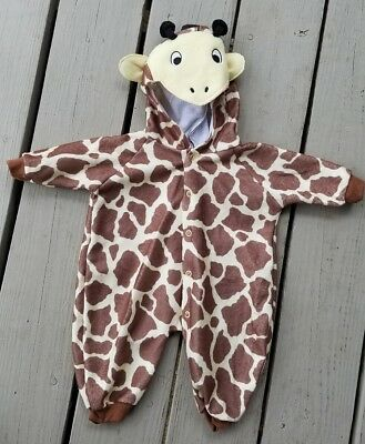 New Baby Small Giraffe COSTUME Full Button Up BabyGro Halloween Soft Brown PJs