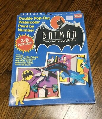 Vintage 1992 Batman The Animated Series Paint by Number Water Color Set (Sealed)