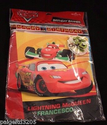 Hallmark Disney Pixar Cars Lightning McQueen Happy Birthday Banner 8.35 ft long - Disney Cars Birthday Banner