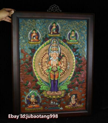 Old Tibet Wood Purple Bronze Painting 1000 Arms Avalokiteshvara GuanYin Thanka