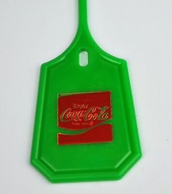 Coca-Cola Coke USA Plastik Tag Anhänger Schlüsselanhänger Keychain 1970er grün