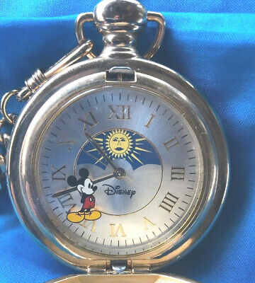 """vintage Disney MICKEY MOUSE gold toned POCKET WATCH, MU1048 13"""" chain & clip"""
