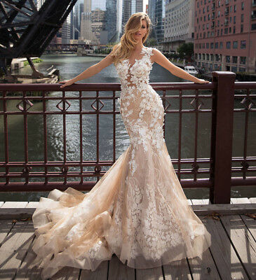 - Champagne Mermaid Wedding Dress Flowers Lace Bridal Gown Sleeveless Plus Custom
