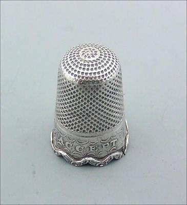 ANTIQUE VICTORIAN STERLING SILVER THIMBLE C1850  ' ACCEPT' LOVE TOKEN