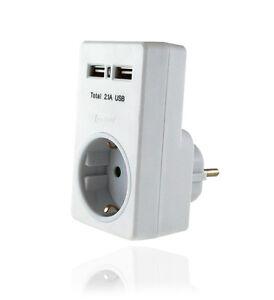 Steckdose mit 2 USB Anschluss doppel Netzteil Zwischenstecker Schuko Ladeadapter