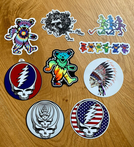Grateful Dead Deadhead Sticker Pack - 9 Premium Quality Decal Stickers 3 in