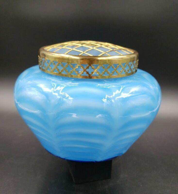ANTIQUE PLUME BLUE GLASS FLOWER ARRANGER CENTERPIECE BY STEVENS & WILLIAMS