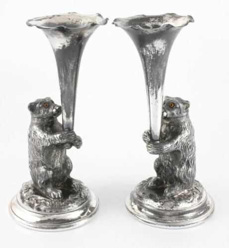 Victorian Silver Plated Novelty Bear Spill Vases. Antique. Glass Eyes. c1877
