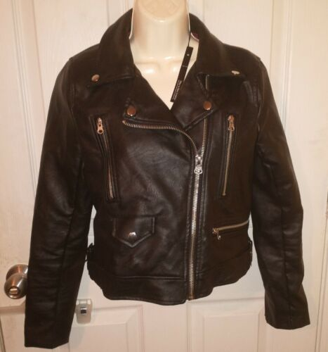 faux vegan leather motorcycle jacket small
