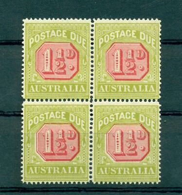CIFRE - NUMBERS AUSTRALIA 1922 Postage Due block of 4 11/2d