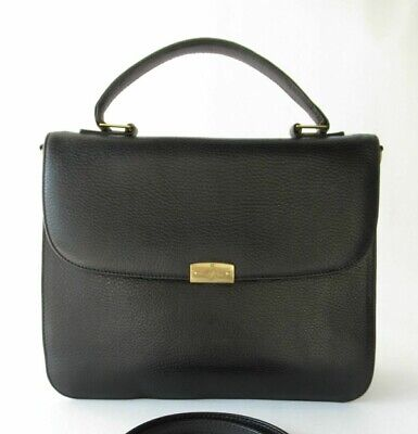 Vintage Mark Cross Black Leather Medium Bag Purse or Handle Tote