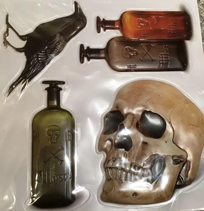 Realistic HALLOWEEN WINDOW CLINGS skull poison bottle crow raven spooky puff 3D