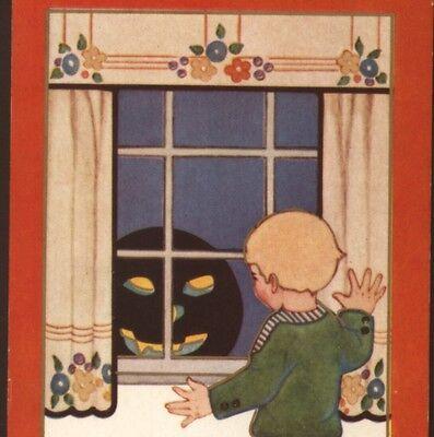 EVIL,GRINNING BLACK JOL PEEKS IN BOY'S WINDOW,HALLOWEEN,WHITNEY,VINTAGE POSTCARD