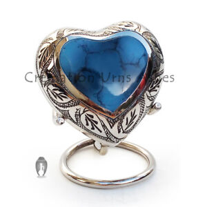 Memorial Leaf Urns, Mystic Blue Mini Heart Keepsake Urn for Human Ashes