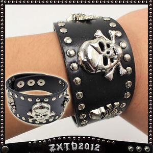 1 Pcs Punk Skull Rock Black Leather Studded Bracelets Wristband Bangle