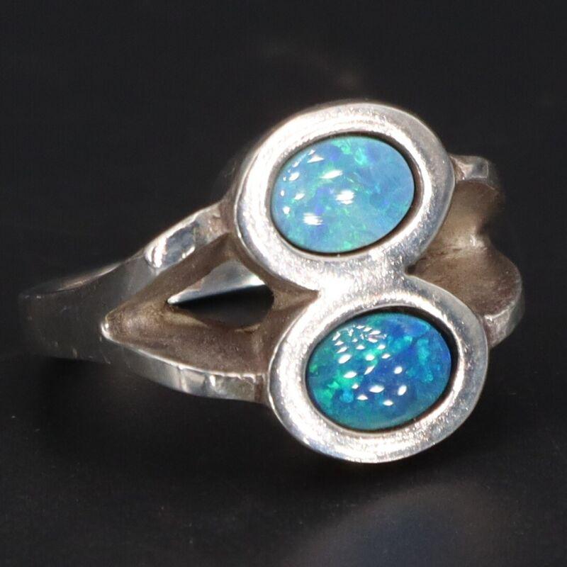 VTG Sterling Silver FINLAND KAUNIS KORU Opal Inlay Modernist Ring Size 5.75 - 9g