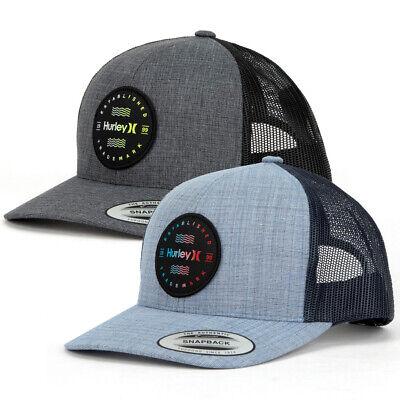HURLEY Trademark Trucker Hat Snapback cap adjustable fit logo patch mesh back