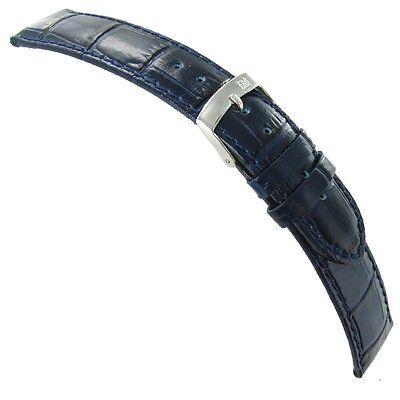 - 22mm Morellato Samba Italian Leather Alligator Grain Navy Blue Watch Band 2704