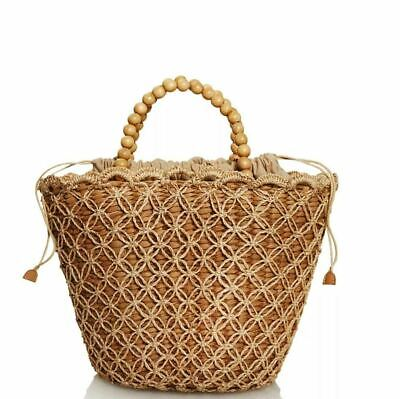 Kayu Poppy Seagrass Tote With Wood Beaded Handles