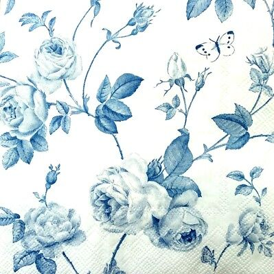 4 Single Lunch Paper Napkins for Decoupage Party Craft Vintage Blue Garden Flo