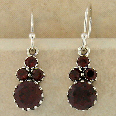 GENUINE GARNET ANTIQUE VICTORIAN STYLE 925 STERLING SILVER EARRINGS,        #886