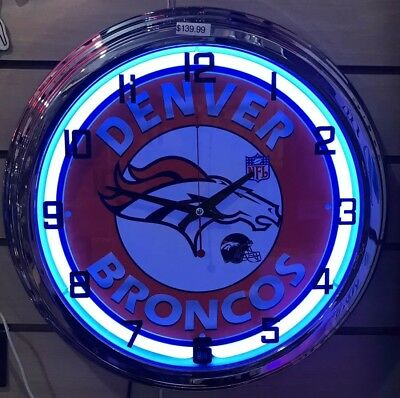 Denver Broncos Neon Clock (Denver Broncos NFL Blue ,white Neon Wall Clock Car Truck Automotive Sign )