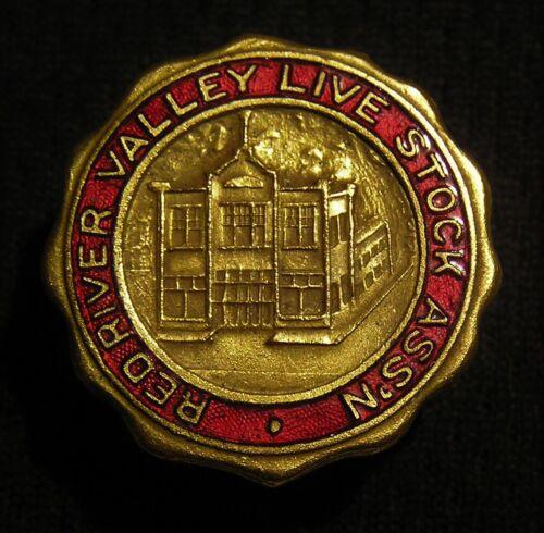 VTG ANTIQUE? RED RIVER VALLEY LIVE STOCK LIVESTOCK ASSN SCREWBACK PIN Stockyards