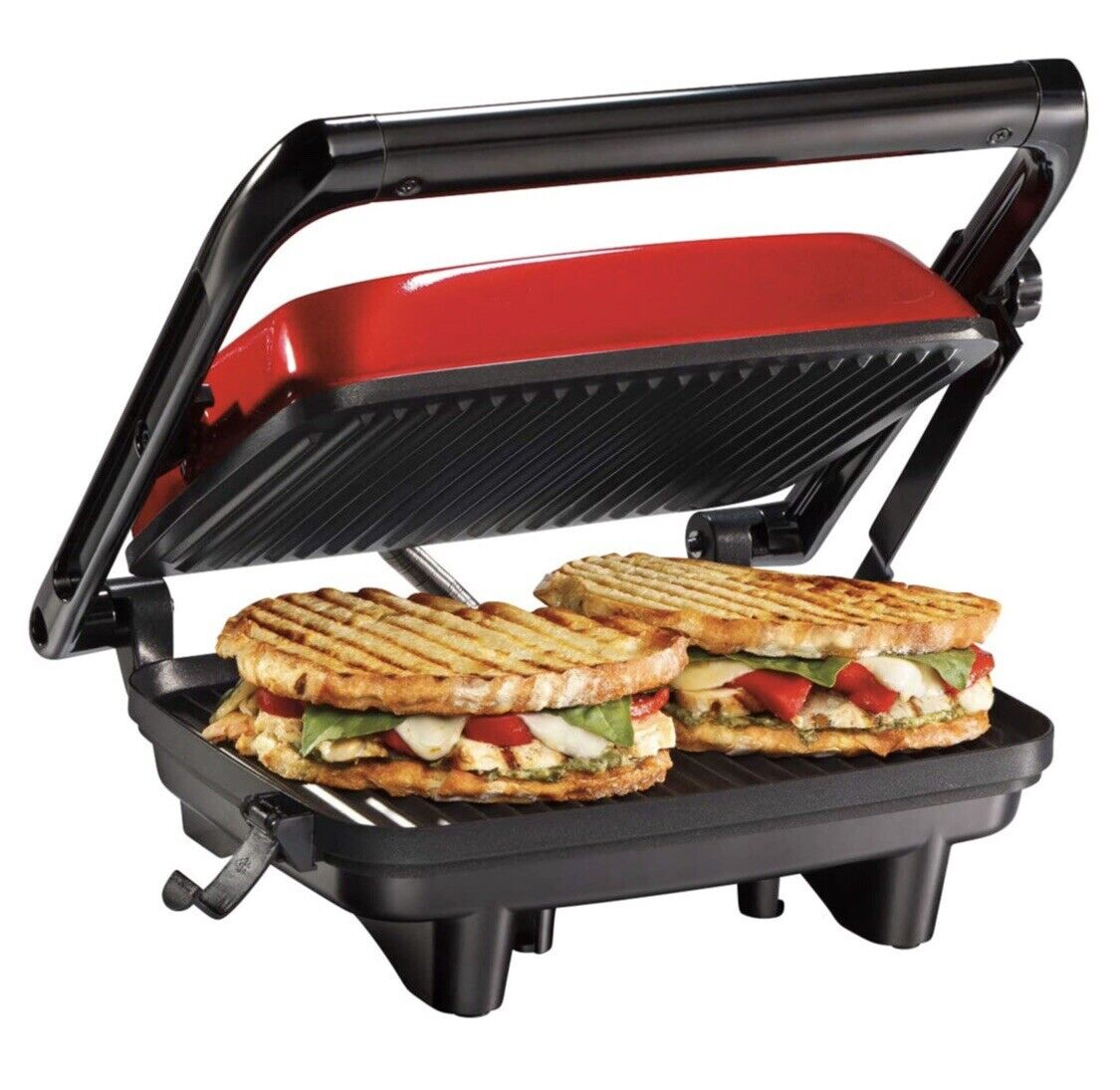 Hamilton Beach Panini Press Gourmet Sandwich Maker, Red, 254