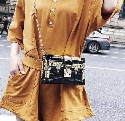 Luxury Brand Women Metal Lock Messenger Bag Clutch Box Shape Patchwork Handbag