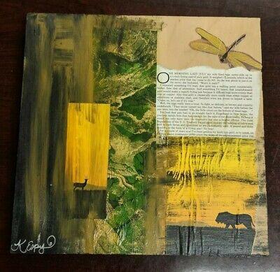 Kat Espy Mixed Materials on Wood Art 12