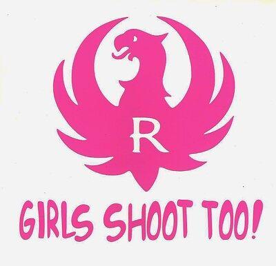 Ruger Logo Die Cut Sticker GIRLS SHOOT TOO! Decal Pink